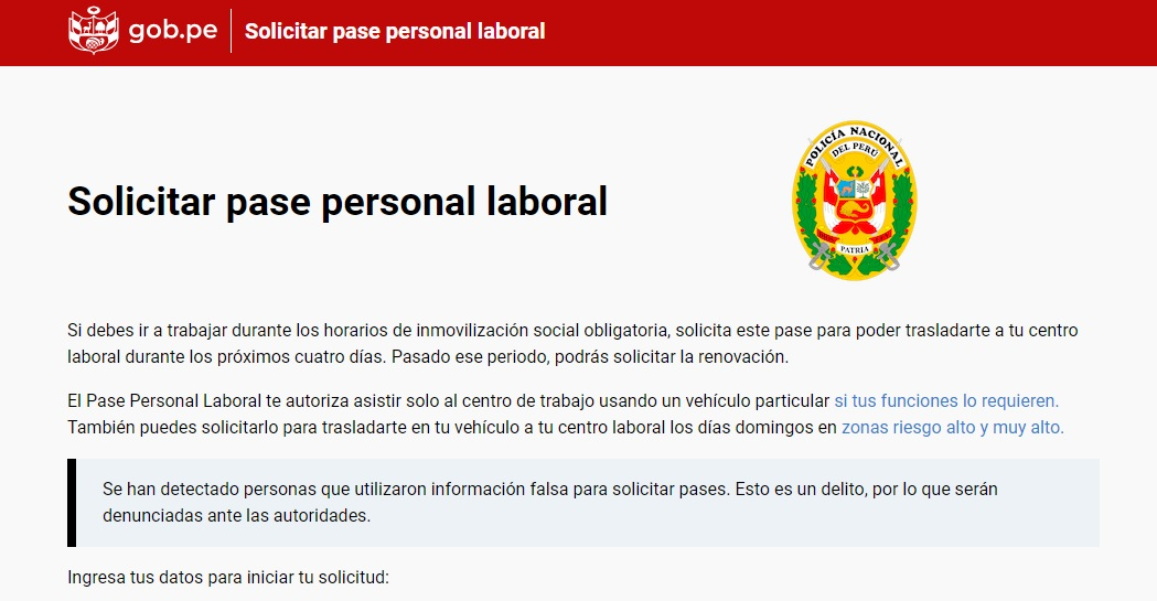 Pase personal laboral